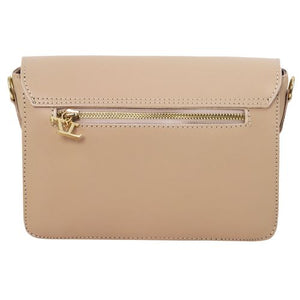 Rear View Of The Light Taupe Leather Clutch Handbag