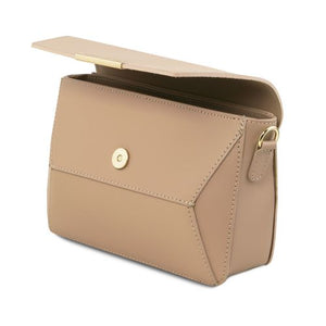 Magnetic Button Closure View Of The Light Taupe Leather Clutch Handbag