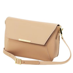 Angled And Shoulder Strap View Of The Light Taupe Leather Clutch Handbag