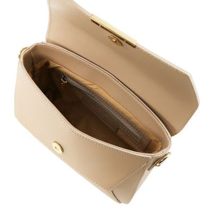 Internal View Of The Light Taupe Leather Clutch Handbag