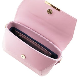 Internal View Of The Lilac Leather Clutch Handbag