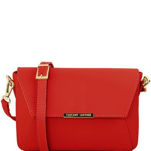 Front View Of The Red Leather Clutch Handbag