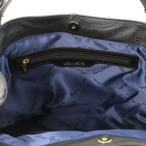 Internal View Of The Black Leather Handbag