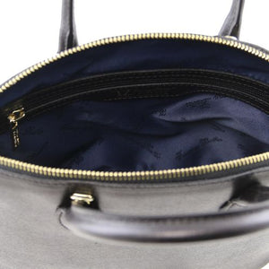 Internal Zip Pocket View Of The Small Black Tote Leather Handbag