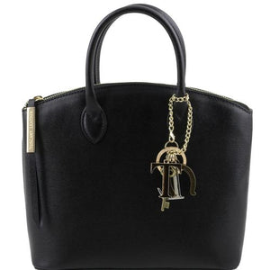 Front View Of The Small Black Tote Leather Handbag
