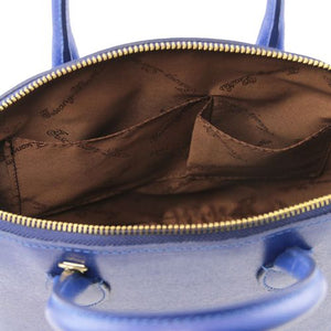 Internal View Of The Small Blue Tote Leather Handbag