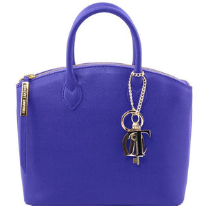 Front View Of The Small Blue Tote Leather Handbag