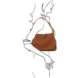 Women Posing With The Cognac Soft Leather Hobo Handbag