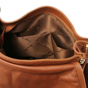 Internal Pockets View Of The Cognac Soft Leather Hobo Handbag