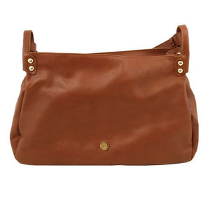 Opening Flap View Of The Cognac Soft Leather Hobo Handbag
