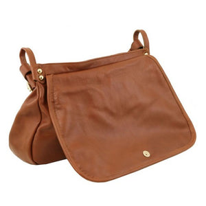 Angled Opening Flap View Of The Cognac Soft Leather Hobo Handbag