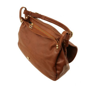 Top Angled View Of The Cognac Soft Leather Hobo Handbag