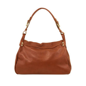 Rear View Of The Cognac Soft Leather Hobo Handbag