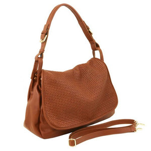 Angled And Shoulder Strap View Of The Cognac Soft Leather Hobo Handbag