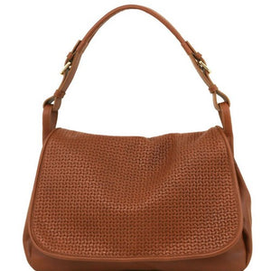 Front View Of The Cognac Soft Leather Hobo Handbag
