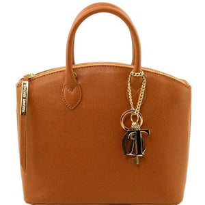 Front View Of The Small Cognac Tote Leather Handbag