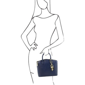 Sketch Of Women Holding The Small Dark Blue Tote Leather Handbag
