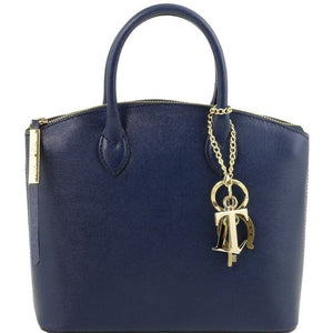 Front View Of The Small Dark Blue Tote Leather Handbag