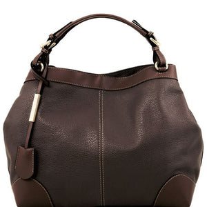 Front View Of The Dark Brown Leather Handbag