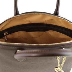 Internal Zip Pocket View Of The Small Dark Taupe Beautiful Leather Handbag