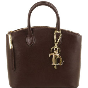 Front View Of The Small Dark Brown Tote Leather Handbag