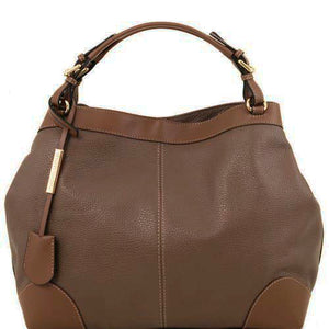 Front View Of The Dark Taupe Leather Handbag