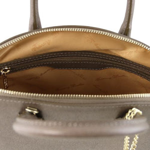 Internal View Of The Small Dark Taupe Tote Leather Handbag