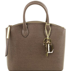 Front View Of The Small Dark Taupe Tote Leather Handbag