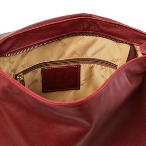 Internal Zip Pocket View Of The Red Soft Leather Hobo Handbag