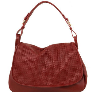 Front View Of The Red Soft Leather Hobo Handbag