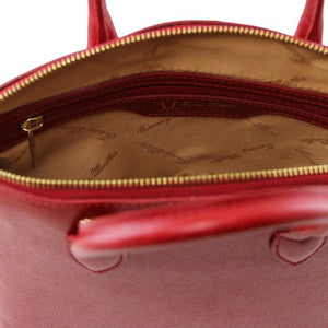 Internal Zip Pocket View Of The Small Red Tote Leather Handbag
