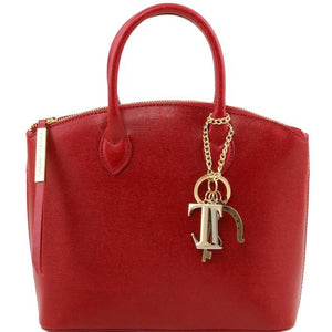 Front View Of The Small Red Tote Leather Handbag