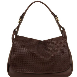 Front View Of The Dark Brown Soft Leather Hobo Handbag