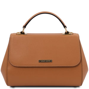 Front View Of The Cognac Ladies Genuine Leather Handbag