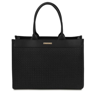 Front View Of The Black Ladies Shopper Bag