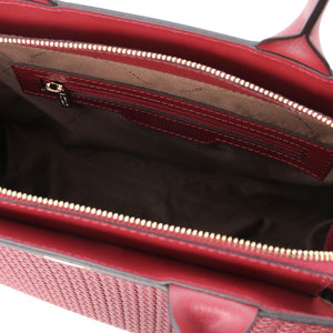Internal Zip Pocket View Of The Red Ladies Shopper Bag
