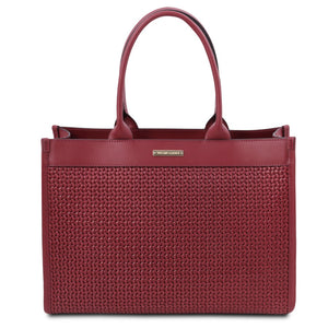 Front View Of The Red Ladies Shopper Bag