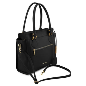 Angled View Of The Black Lara Smooth Leather Handbag