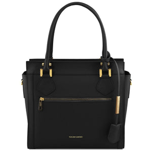 Front View Of The Black Lara Smooth Leather Handbag