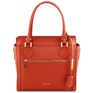 Front View Of The Brandy Colored Lara Smooth Leather Handbag