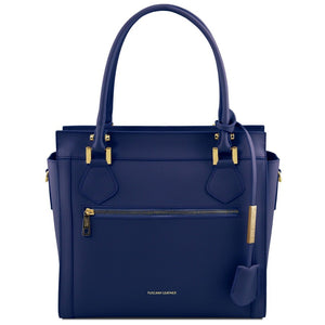 Front View Of The Dark Blue Lara Smooth Leather Handbag
