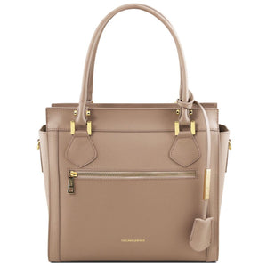 Front View Of The Dark Taupe Lara Smooth Leather Handbag