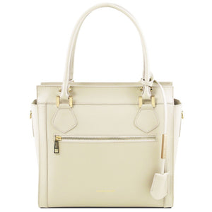 Front View Of The Ivory Lara Smooth Leather Handbag