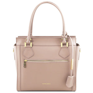 Front View Of The Light Taupe Lara Smooth Leather Handbag