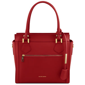 Front View Of The Red Lara Smooth Leather Handbag