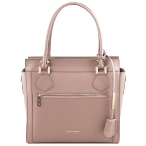 Front View Of The Nude Lara Smooth Leather Handbag