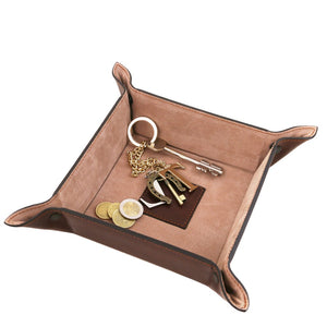 Featured Top Angled View Of The Brown Large Leather Desk Tidy Tray