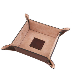 Inside Top Angled View Of The Brown Large Leather Desk Tidy Tray