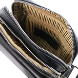 Internal Zip Pocket View Of The Black Mens Crossbody Bag