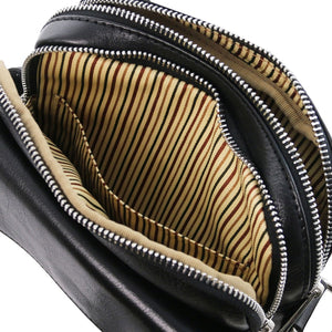 Internal Pocket View Of The Black Mens Crossbody Bag